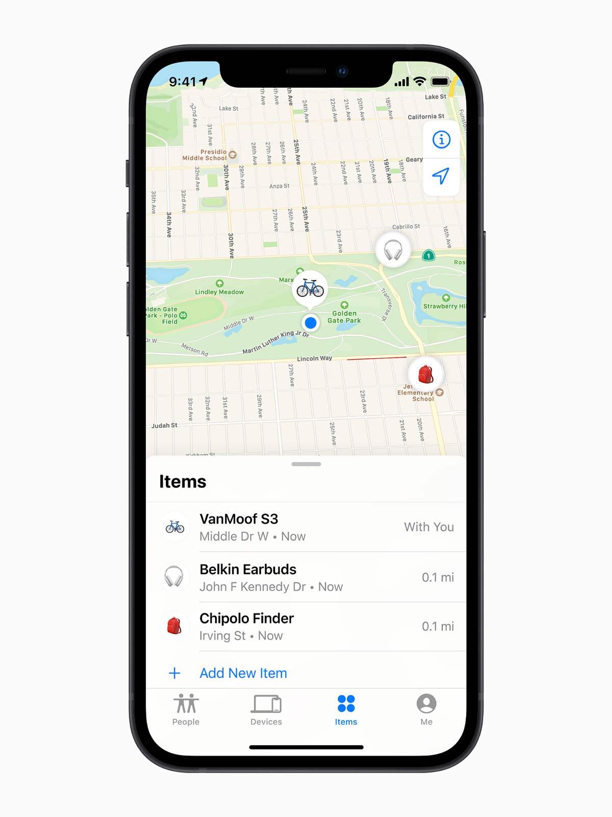 Apple iphone12 findmy item list