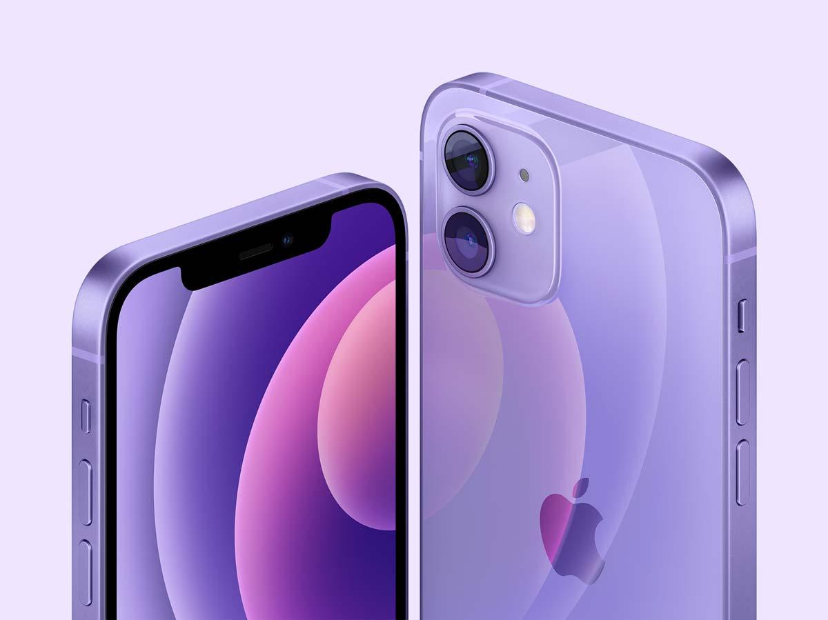 iPhone mini and iPhone 12 in purple